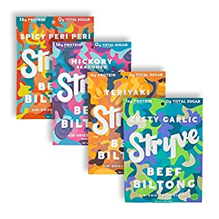 Stryve Protein Variety Snack Pack   Air Dried 100% Beef Biltong   Lighter than Jerky   No Carb, No Sugar   16g Protein   4 Pack of 2.25oz