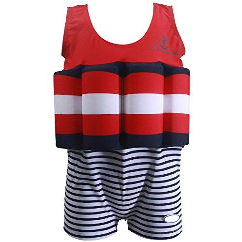 Flotation Swimwear (Anbaby Boys' Adjustable Buoyancy Swimsuits Flotation Swimsuit For Baby Boys 110 Red/white/blue)