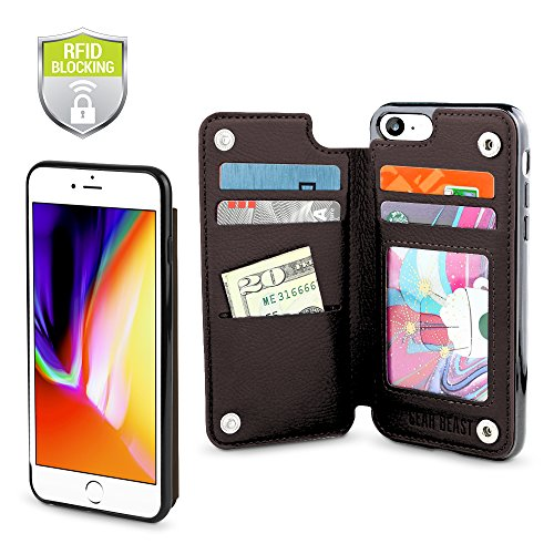 - Gear Beast Top Grain Genuine Leather Protective Top View Slim Wallet Case Fits iPhone 8/7 Includes Flip Folio Cover, with Five Card Slots Including Transparent ID Holder