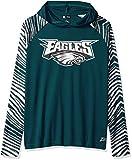 Zubaz NFL Philadelphia Eagles Men's Lightweight Hood with Zebra Sleeves, Small, Pine Needle Green/Metallic Silver