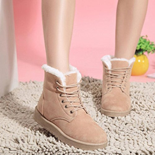 Womens Ankle Boot,Clode® Fashion Women Boots Flat Lace Up Fur Lined Winter Warm Snow Shoes Beige