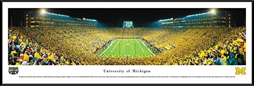 Michigan Football - Under The Lights - End Zone - Blakeway Panoramas College Sports Posters with Standard Frame