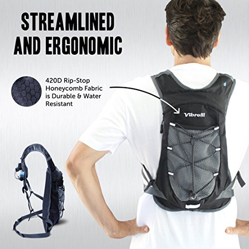 Vibrelli Hydration Pack & 2L Hydration Bladder - High Flow Bite Valve Hydration Backpack with Anti-Microbial Technology by Vibrelli (Image #5)