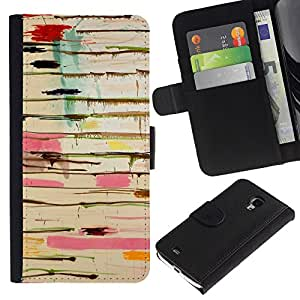 KingStore / Leather Etui en cuir / Samsung Galaxy S4 Mini i9190 / Resumen de pintura de goteo Arte Pollock Líneas