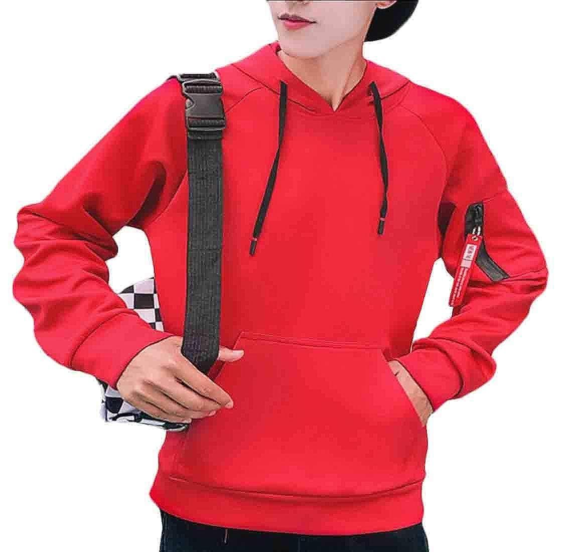 UNINUKOO Unko T Shirt Mens Sweatshirt Coats Long-Sleeved Hooded Pullover Slim Tee