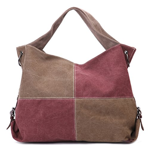 Eshow borsa da donna di tela canvas shopper tote moda fashion (marrone e rosso)
