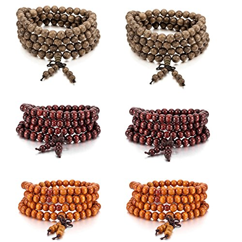 MOWOM 6PCS 8mm Wood Bracelet Link Wrist Necklace Chain Tibetan Buddhist Sandalwood Bead Prayer Buddha Mala Chinese Knot (Buddhist Prayer Tibetan Beads)