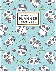 2021-2025 Monthly Planner: Adorable Panda Bear Organizer with Vision Boards, To Do Lists, Notes, Holidays | Five Year Calendar, Agenda, Diary | Cute Exotic Bamboo Pattern