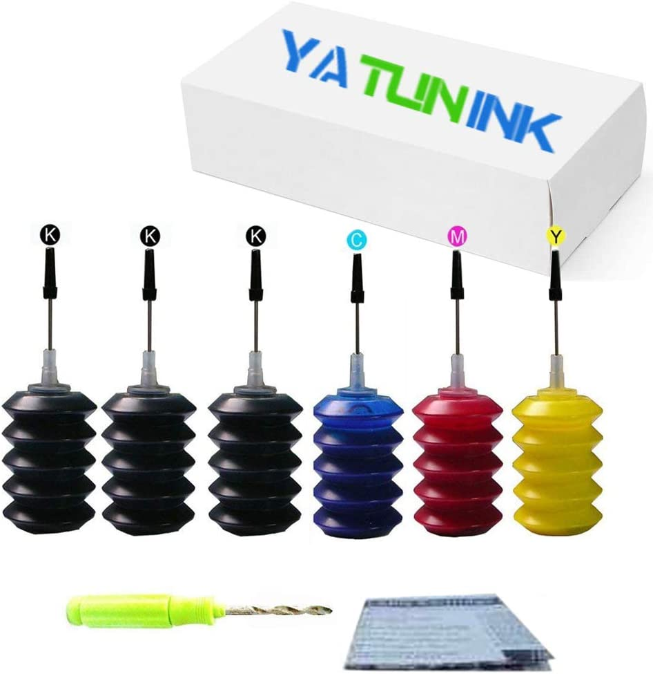YATUNINK Refill Ink Refill Kit Replacement for HP 67XL Ink Cartridge Refill Ink Kit for HP DeskJet 1255 DeskJet 2732 DeskJet 2752 DeskJet 2755 Envy Pro 6452 Envy 6455 Envy 6458 Printer (6x30ML)