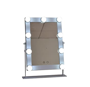 Large Makeup Mirror With 9 Big LED Bulbs Lighted Vanity Mirrors  White/Yellow Lights Touch