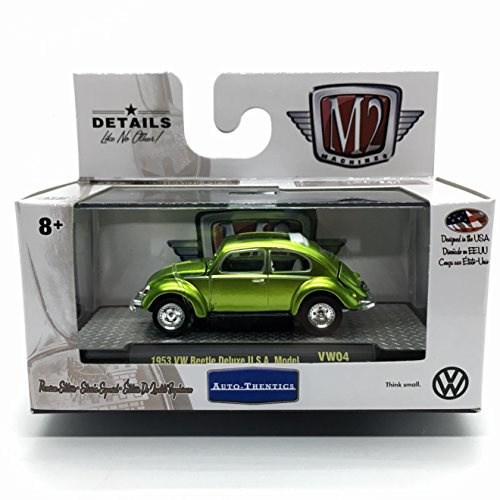 M2 Machines 1953 VW Beetle Deluxe U.S.A. Model (Lime Green) Auto-Thentics Volkswagen Release 4 - Castline 2017 Premium Edition 1:64 Scale Die-Cast Vehicle & Display Case Set (VW04 17-06)