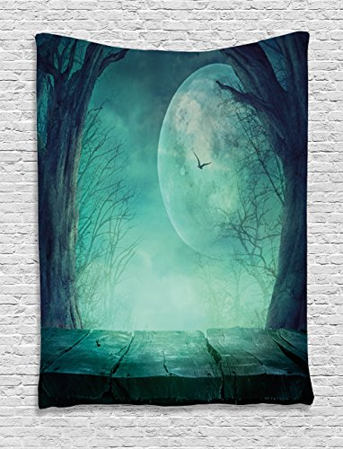Ambesonne Halloween Decorations Tapestry, Spooky Forest Full Moon and VaIn Branches Mystical Haunted Horror Theme Rustic Decor, Bedroom Living Room Dorm Decor, 40 W x 60 L Inches, Teal ()