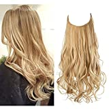 Halo Hair Extension Wavy Curly Long Synthetic Hairpiece Highlight 16 Inch 3.9 Oz Hidden Wire Headband Adjustable for Women Heat Resistant Fiber No Clip SARLA (M03&27H613)