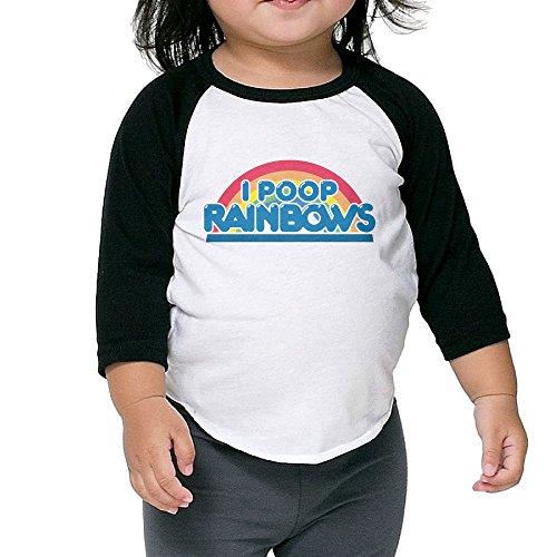 [NONOS Kids Child Rainbow I Poop Rainbows 3/4 Sleeve Raglan Baseball Jersey T-Shirts] (Sims 3 Seasons Costumes)