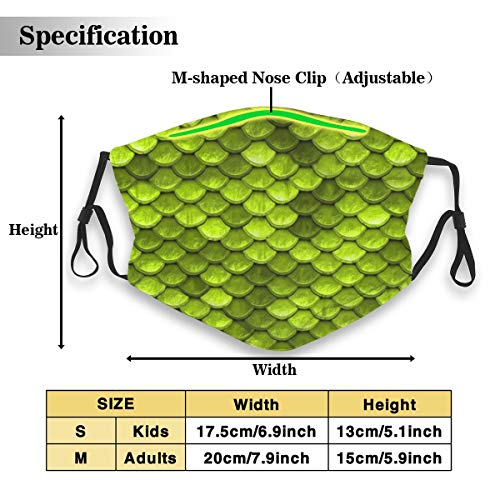Beautiful Lime Green Mermaid Fish Scales Unisex Fashion Anti Dust Pollution Outdoor Mouth Mask with Replaceable Carbon Filter Adjustable Ear Loops,Protection Warm Windproof Face Masks
