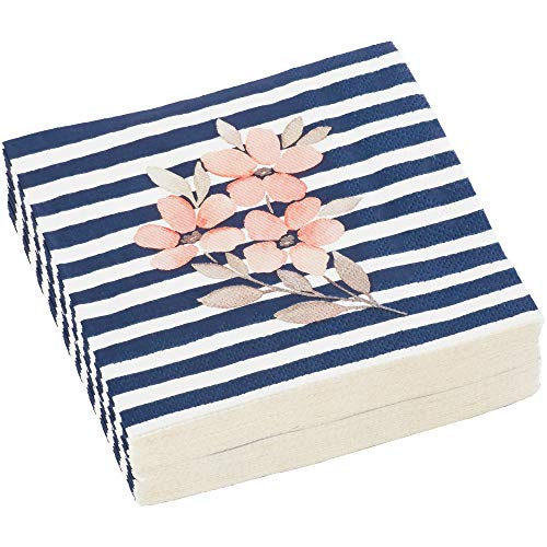 C.R. Gibson Navy Blue and White Striped Floral Beverage and Cocktail  Napkins, 40pc, 5'' W x 5'' L