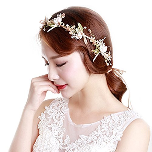 Venusvi Wedding Flower Champagne headband for Women and Girls