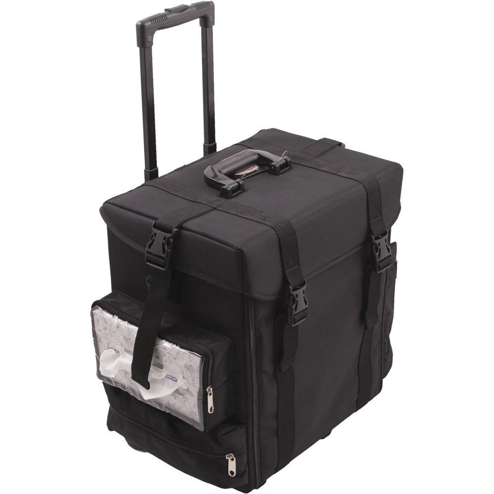 Sunrise La Croce Soft Sided Rolling Makeup Case Professional Nail Travel Wheel Organizer, Black Canvas, 15 lb, 1 Count