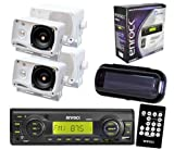 Enrock Boat Yacht 200W MMC USB AUX Media Receiver Black w/Cover & 4 Box Speakers