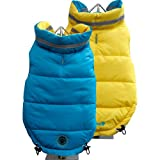 FouFou Dog Fou Ski Parka Dog Coat, Teal/Yellow, Medium, My Pet Supplies