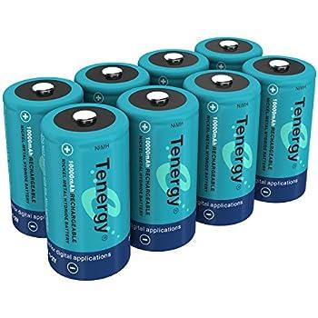 Amazon.com: Tenergy 10000mAh NiMH D Battery, Rechargeable