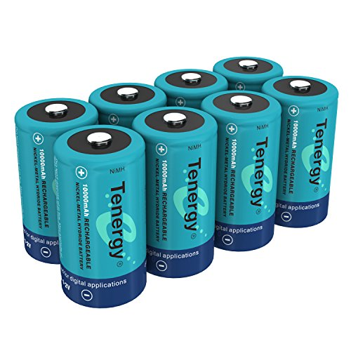 Tenergy 10000mAh NiMH D Battery, Rechargeable High Capacity D Size Battery, High Drain D Cell Batteries for Flashlight, 8-Pack