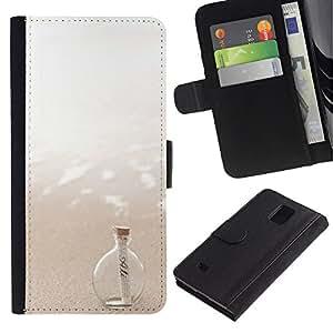 EuroTech - Samsung Galaxy Note 4 SM-N910 - Message In A Bottle Sea Sun Summer - Cuero PU Delgado caso Billetera cubierta Shell Armor Funda Case Cover Wallet Credit Card