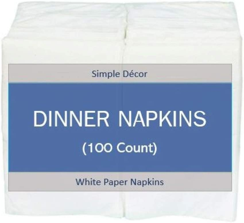 Disposable Dinner Paper Napkins ~ Guest Hand Towels ~ White Napkin ~ Pack Of 100 ~ Super Soft and Highly Absorbent ~ For Bathroom, Kitchen, Parties