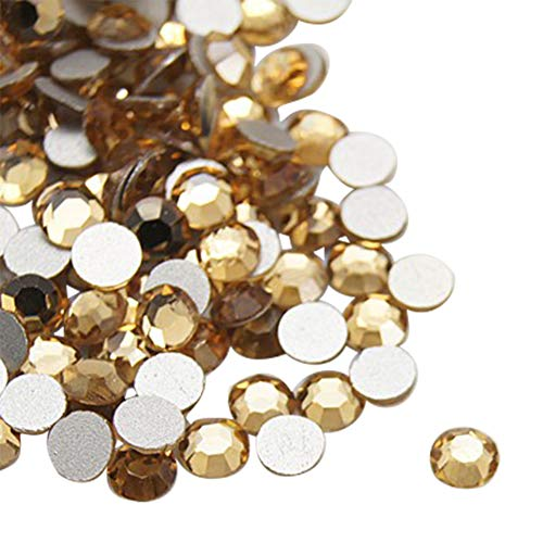 NBEADS About 1440pcs/bag Light Colorado Topaz Glass Flat Back Rhinestone, Half Round Grade A Back Plated Faceted Gems Stones, 4.6~4.8mm