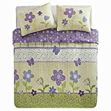 Comfort Spaces - Happy Flower Mini Quilt Set - 2 Piece - Lilac - Adorable Soft Microfiber Printed in Vibrant Multi-Color Plaid with Floral and Butterflies Design - Twin Size