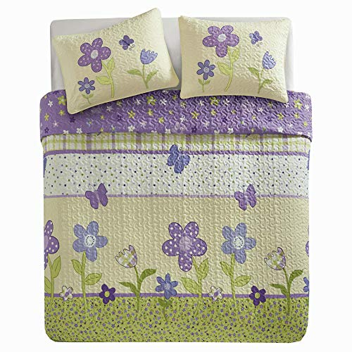 Comfort Spaces - Happy Flower Mini Quilt Set - 2 Piece - Lilac - Adorable Soft Microfiber Printed in Vibrant Multi-Color Plaid with Floral and Butterflies Design - Twin Size by Comfort Spaces