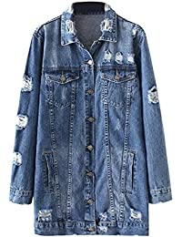 Womens Vintage Long Sleeve Boyfriend Distressed Ripped Long Denim Jacket Coat with Pockets
