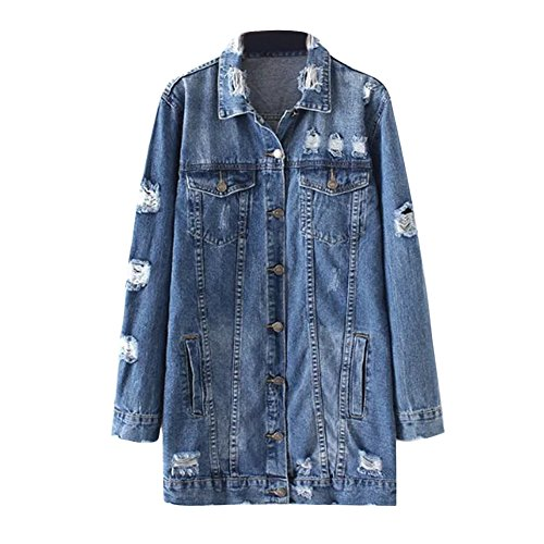 CHICFOR Womens Vintage Long Sleeve Boyfriend Distressed Ripped Long Denim Jacket Coat With Pockets (Blue, M)