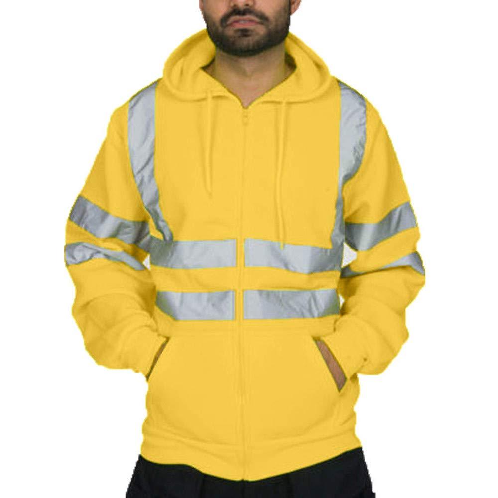 Easytoy High Visibility Jacket, Mens Top Sweaters Hooded Sweatshirt Hoodies Full Zip Up Sweat Shirt Reflective Work Wear Hoody Jackets sdg