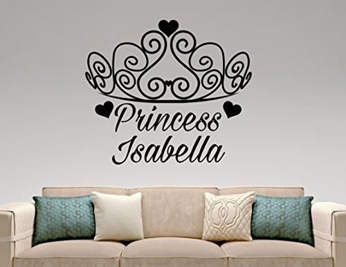 Personalized Princess Tiara Wall Decal Girl Custom Name Sticker Vinyl Art Home Interior Decorations Kids Childrens Baby Room Decor 1prc