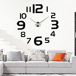 DIY 3D Wall Clock Modern Large Home Decor Sticker Frameless Black Mirror For Office Living Room Bedroom Kitchen Bar Large Number Clock Plate
