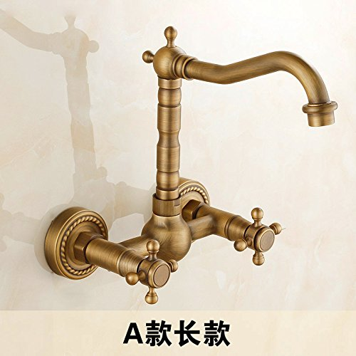 B Long Section Commercial Single Lever Pull Down Kitchen Sink Faucet Brass ConstructedAll-Copper Antique Retro Kitchen Faucet hot and Cold in-Wall Laundry Pool redating European Bathtub Faucet,B Long Section