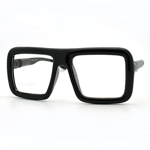49aefa88c299 Amazon.com  Black Thick Square Glasses Clear Lens Eyeglasses Frame Super  Oversized Fashion  Clothing