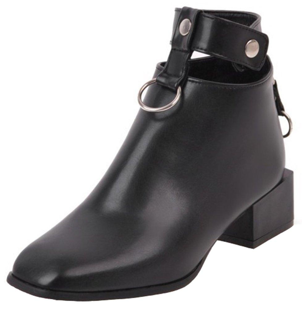 Mofri Women's Dressy Studded Cut Out Block Medium Heel Ankle Booties Square Toe Back Zipper Short Boots (Black, 7 B(M) US)