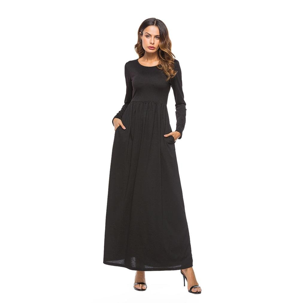 NEWONESUN Women Dress O Neck Long Sleeve Evening Party Long Dress (Medium, Black) by NEWONESUN-Dress