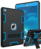 iPad Air Case,TIANLI(TM) ArmorBox [Dual Layer] Convertible [Heavy Duty] Rugged Hybrid Protective With KickStand Case For iPad Air ,Black-Blue