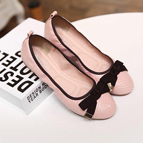 Baymate Bailarinas Mujer Puntera Redonda Comodidad Plegable Zapatos Piso Bowknot Decoración Pink