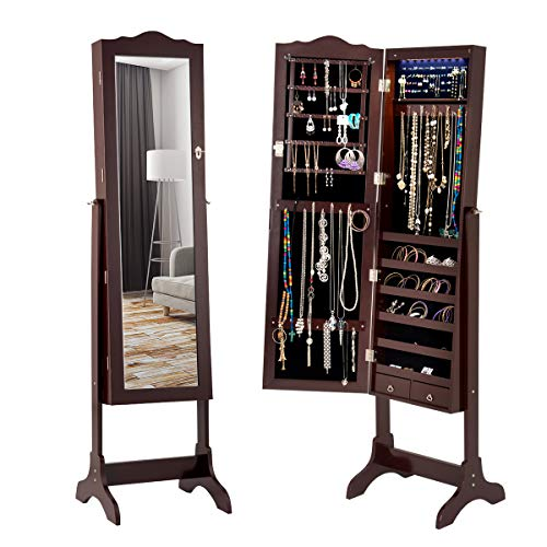 Giantex Jewelry Armoire Cabinet Organizer with Mirror, Lockable with Key 14 Auto-on LED Lights Full Length Mirrored Bedroom Cabinets, Floor Standing Jewelry Armoires Box with 2 Drawers (Brown)