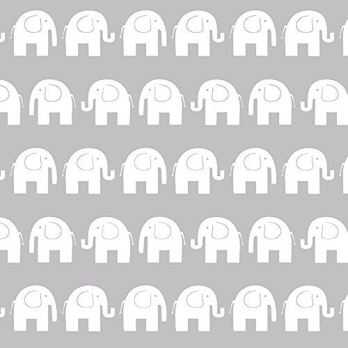 Erstklassiger Baumwollstoff 0,5lfm, 100% Baumwolle, modische Muster, Breite 160cm - Elefanten grau