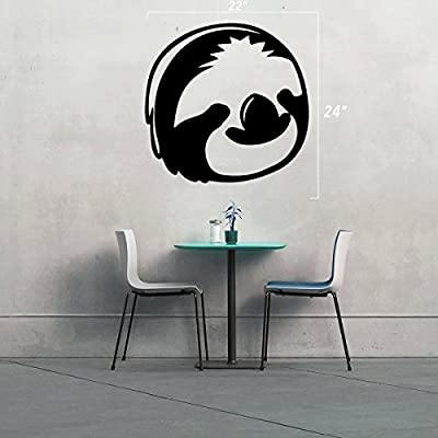Stickany (2X) Wall Series Sloth Face Sticker For Windows, Rooms, And More! (Black) - Stickany
