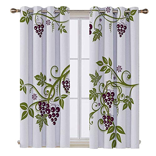 SATVSHOP Room Darkening Wide Curtains - 63W x 63L Inch-Customized Curtains.GRAP Home Curved Grape Natural Wine egion Poster Warm Tuscan Taste Image Violet Green.