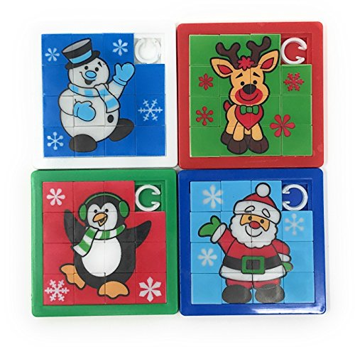 24 Bulk Christmas Slide Puzzle Party Favors and Stocking Stuffers
