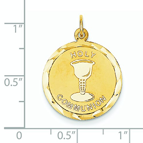 Holy Communion 14 Carats Pendentif Disque-Dimensions :  19 x 19 mm-JewelryWeb