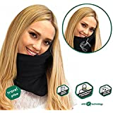 Prokitline Travel Pillow - Scientifically Proven Super Soft Neck Support Pillow – Machine Washable - Very Easy Attachable to Luggage - Comfortable, Compact & Lightweight (Black)