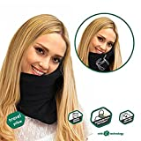 Travel Pillow - Scientifically Proven Super Soft Neck Support Pillow – Machine Washable - Very Easy Attachable to Luggage - Comfortable, Compact & Lightweight Scarf Black Color, Best for Airplane